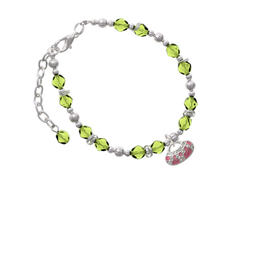 Silvertone Hot Pink Retro Purse Lime Green Beaded Bracelet (BR-C2449-C2324) photo