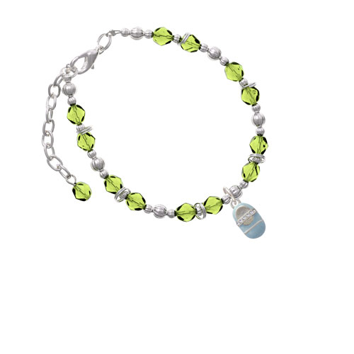 Silvertone Light Blue Baby Shoe with Crystal Strap Lime Green Beaded Bracelet