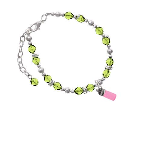 Silvertone 3-D Pink Baby Bottle Lime Green Beaded Bracelet