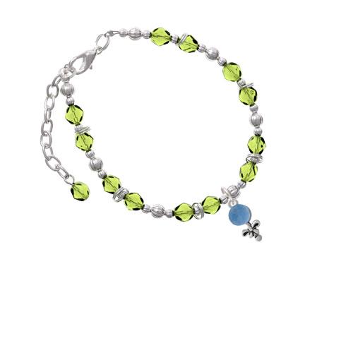Blue Baby Rattle Lime Green Beaded Bracelet