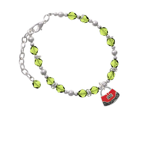 Red Purse Lime Green Beaded Bracelet (Delight) photo
