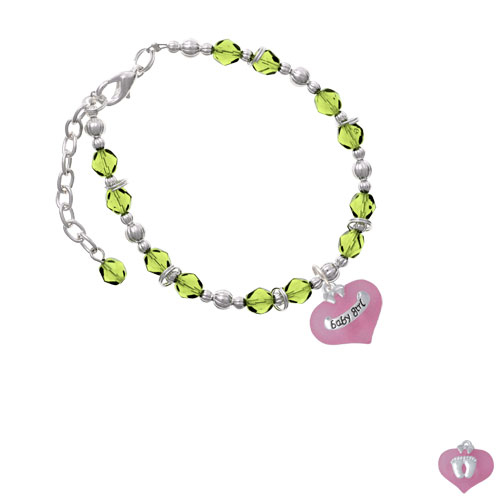 Baby Girl Pink Heart with Baby Feet Lime Green Beaded Bracelet