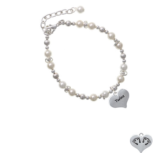 Twins Heart with Two Pair of Baby Feet Imitation Pearl Beaded Bracelet