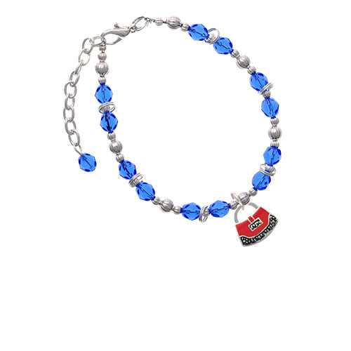 Red Purse Royal Blue Beaded Bracelet (BR-C4085-C2385) photo