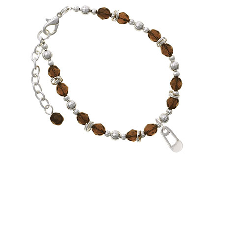 2-Sided Clear Frosted Baby Safety Pin Brown Beaded Bracelet