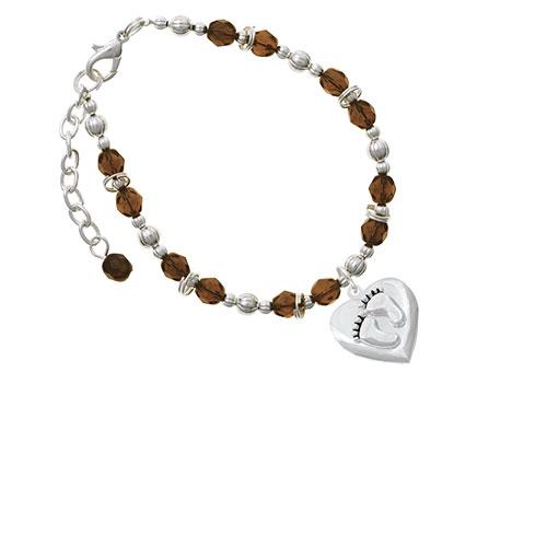 Silvertone Baby Feet Heart Locket Brown Beaded Bracelet