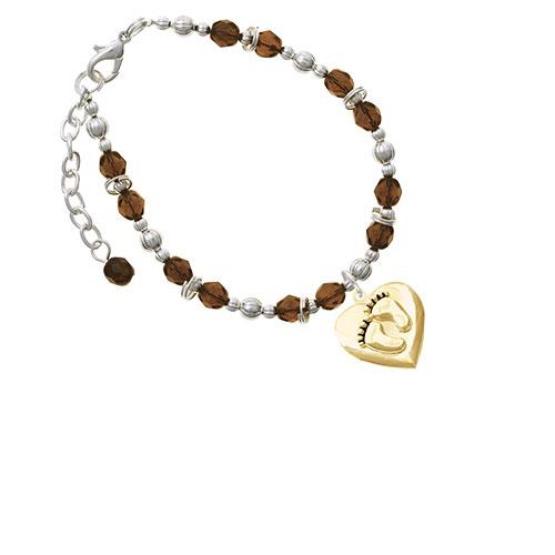 Goldtone Baby Feet Heart Locket Brown Beaded Bracelet