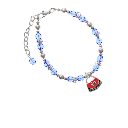 Red Purse Light Blue Beaded Bracelet (BR-C4085-C4853) photo