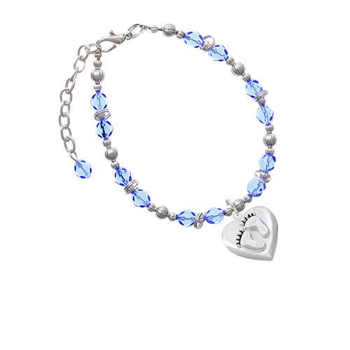 Silvertone Baby Feet Heart Locket Light Blue Beaded Bracelet