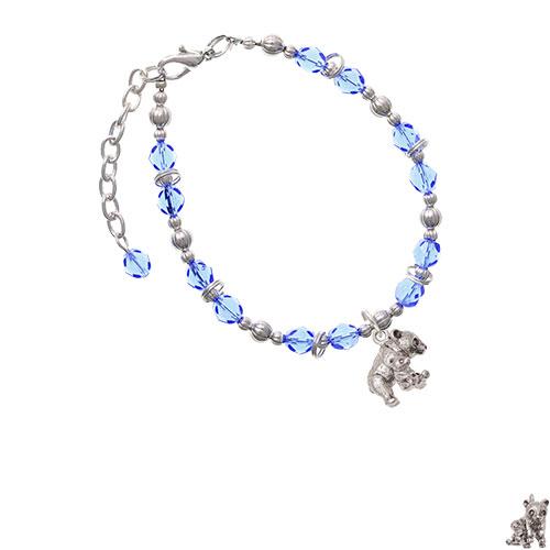 Panda with Baby Light Blue Beaded Bracelet