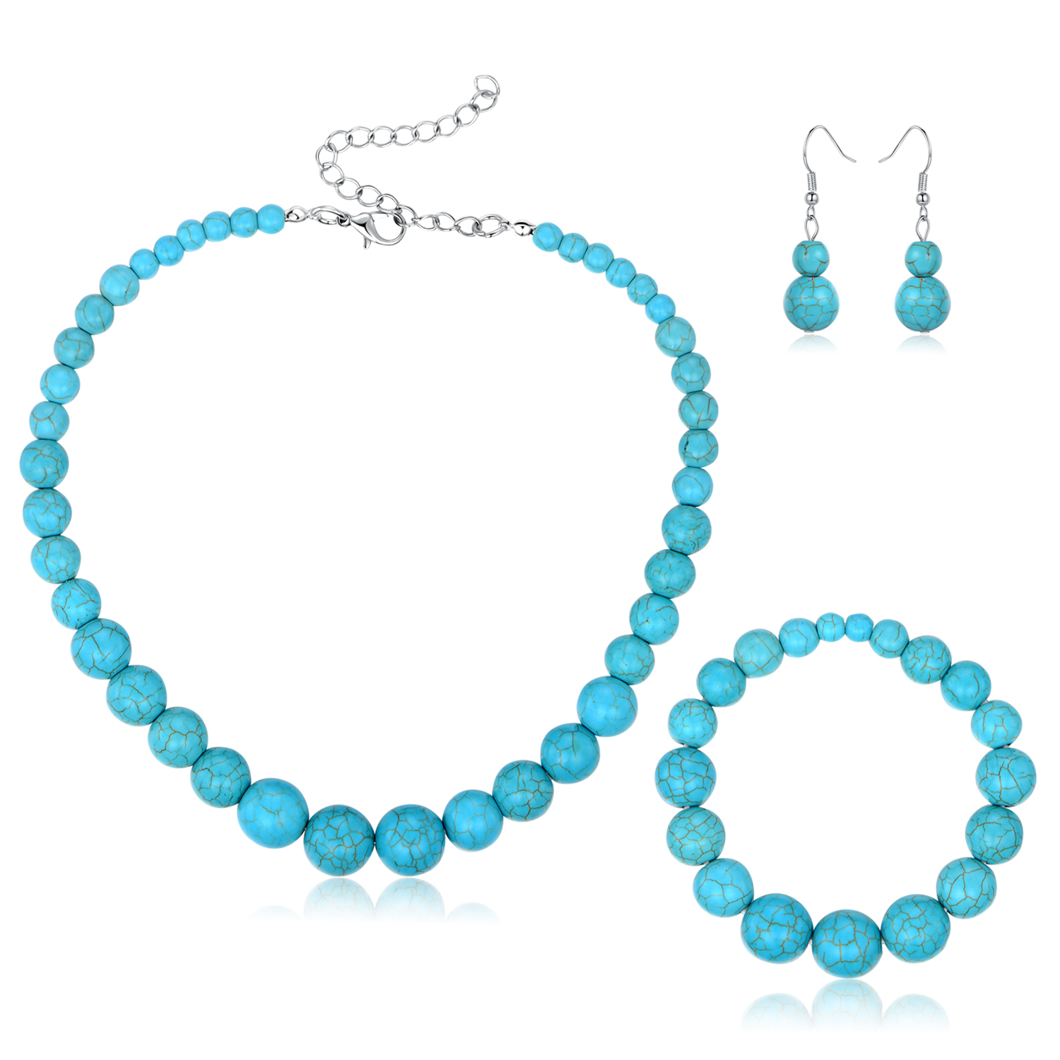 Silver Turquoise Ball Earrings, Bracelet, and Necklace Set 5a7c9dc519a95402870ec1aa