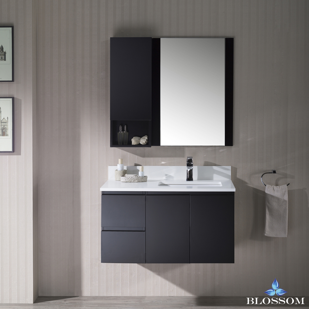 Blossom Monaco 36-inch Wall Mount Vanity Set with Mirror and Wall Cabinet - Right