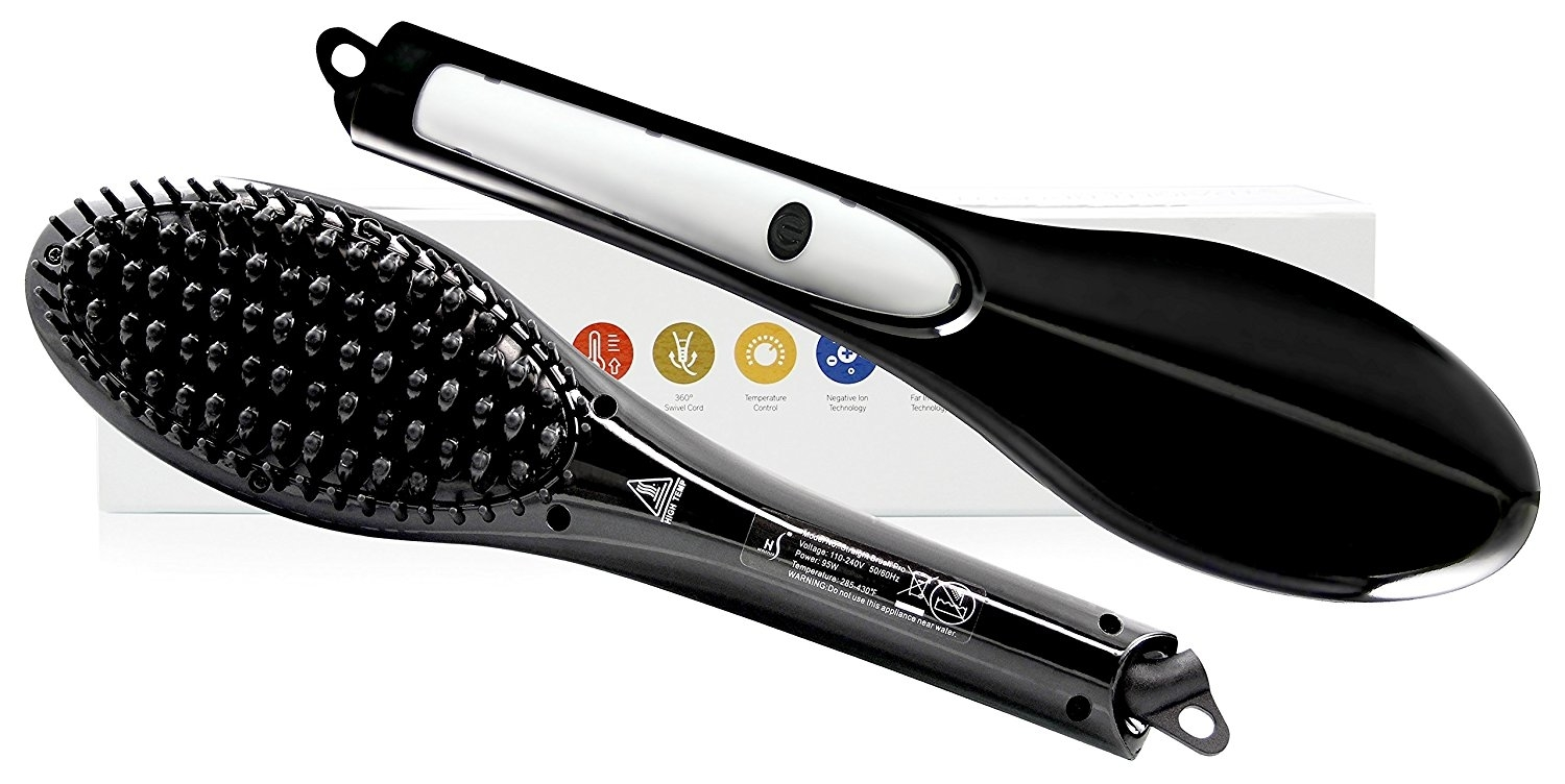 Herstyler Electric Ceramic Brush Hair Straightener, Dual Voltage-Black 5845bf08ef852605036a2c2d