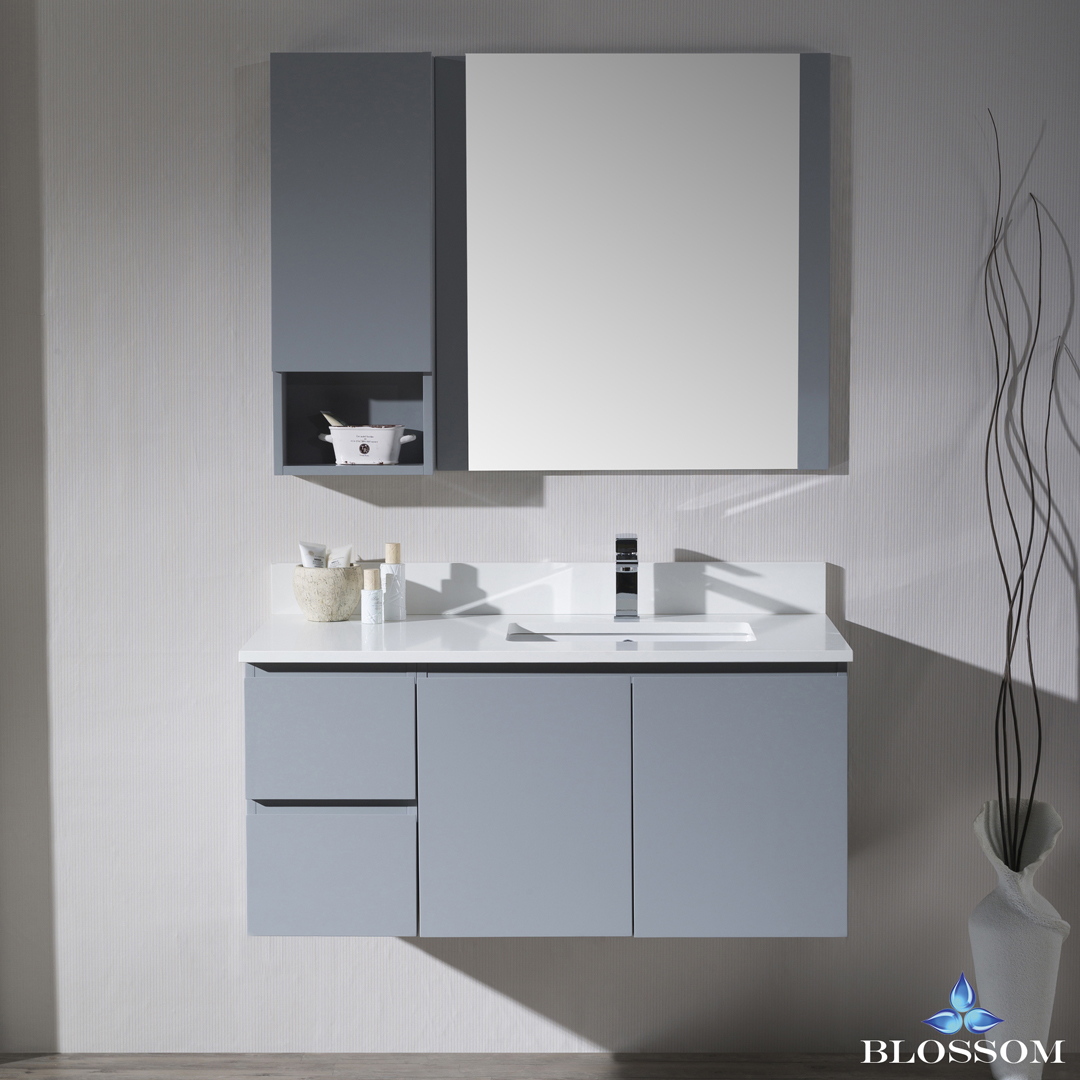 Blossom Monaco 42-inch Wall Mount Vanity Set with Mirror and Wall Cabinet - Right