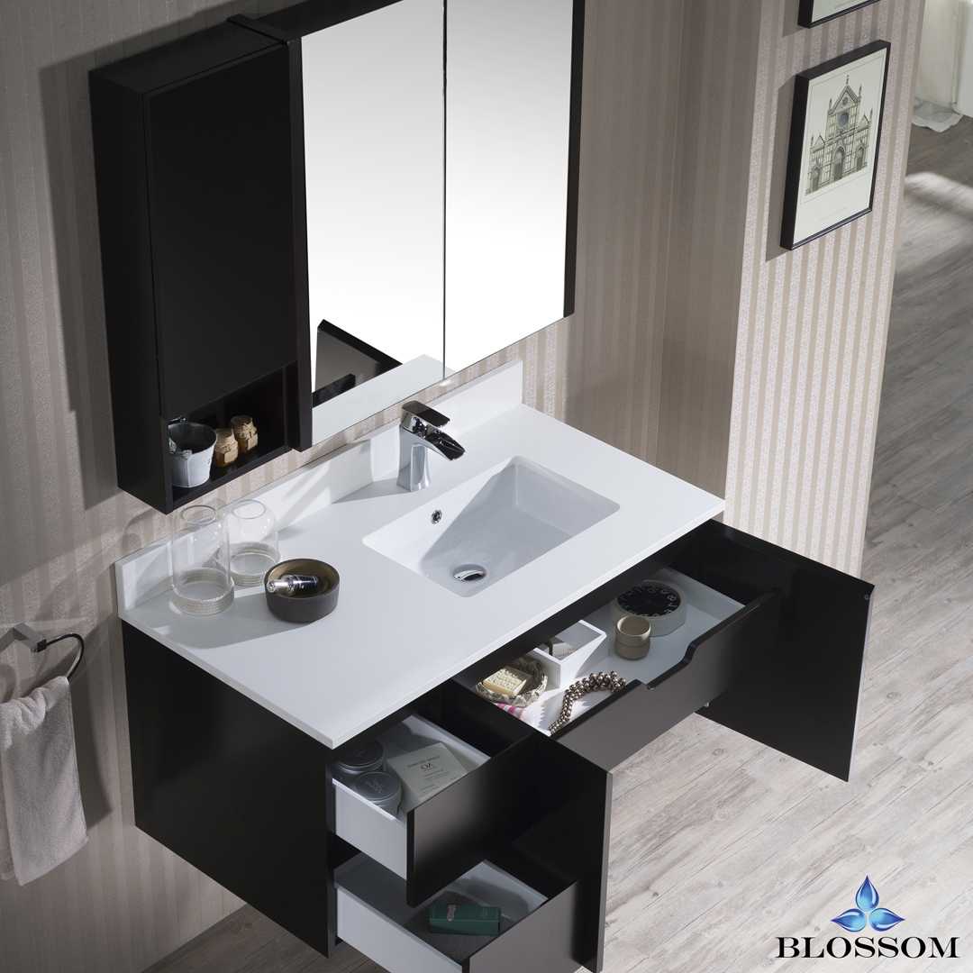 Blossom Monaco 42-inch Wall Mount Vanity Set with Medicine Cabinet and Wall Cabinet - Right