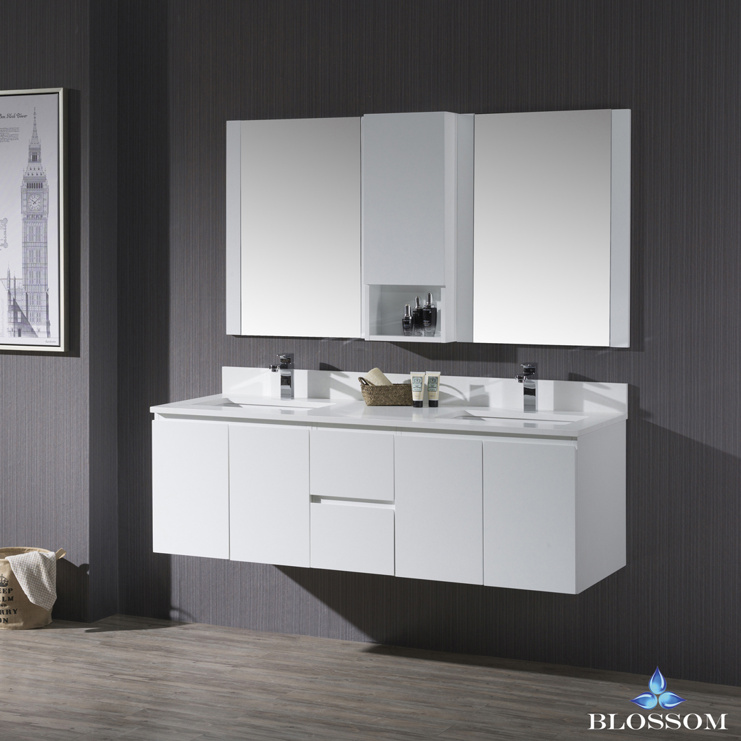 Blossom Monaco 60-inch Double Wall Mount Vanity Set with Mirror and Wall Cabinet - Matte White