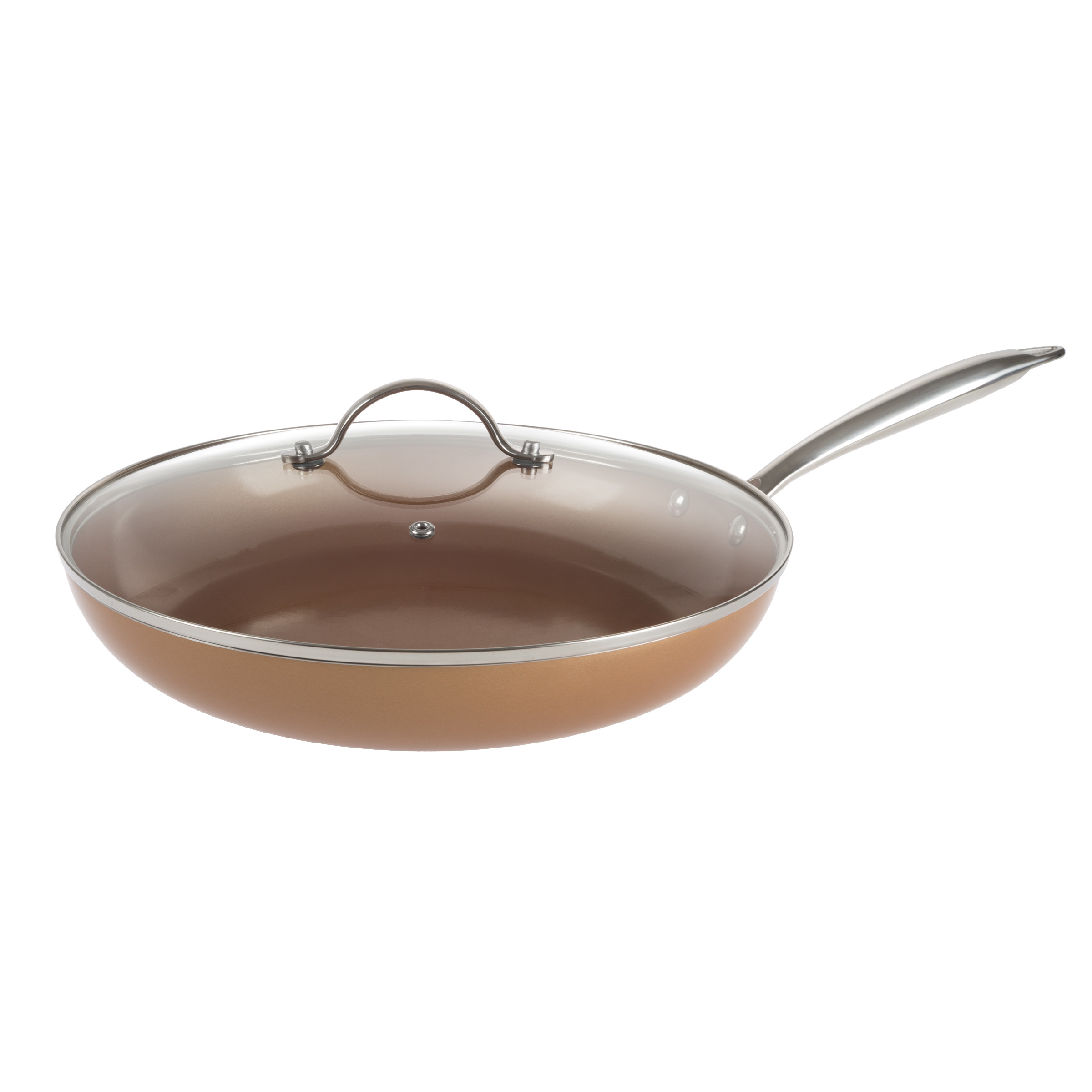 12 Inch Frying Pan with Lid Copper Finish Induction Cooking Oven Stove Top Safe