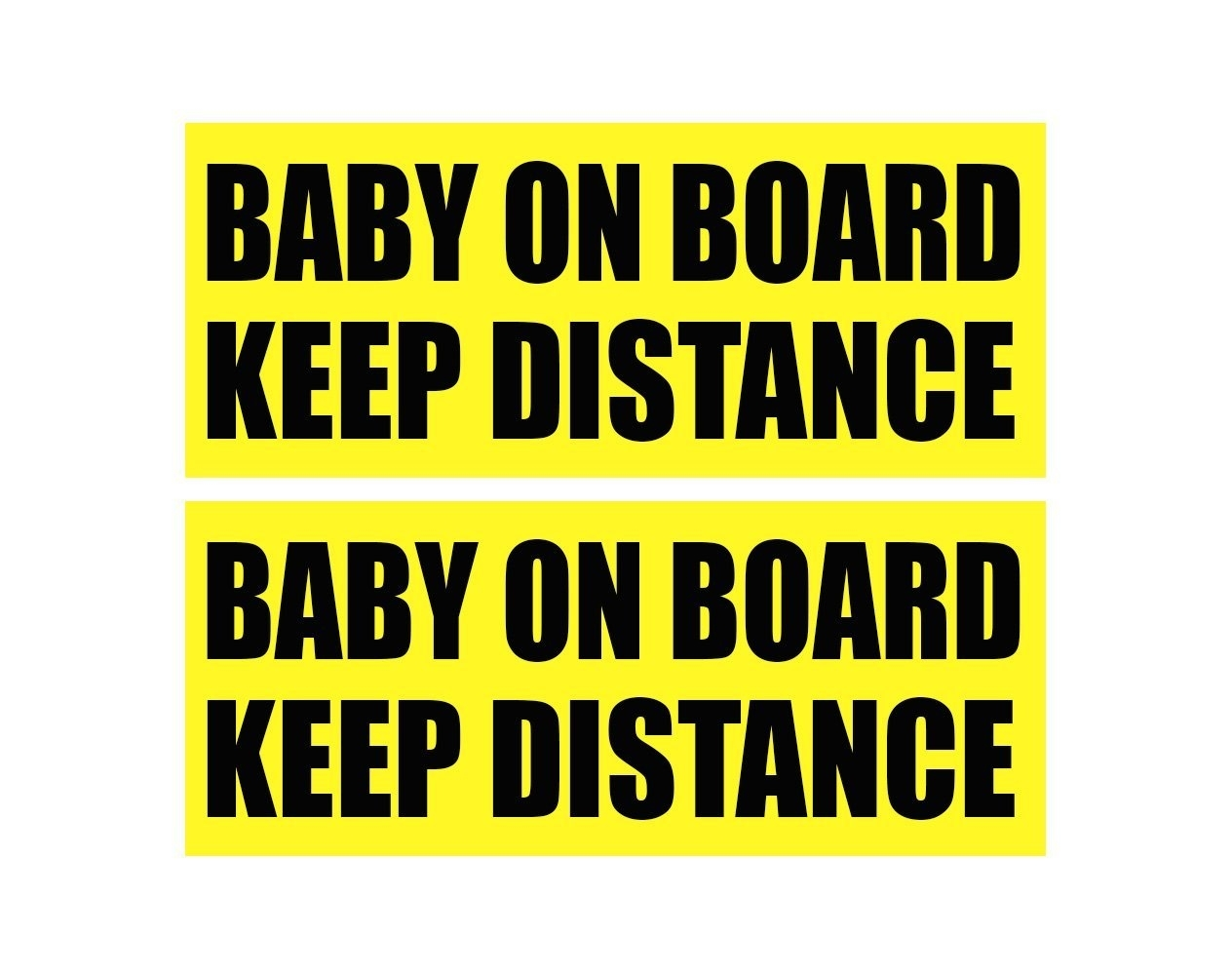 Zone Tech 2x Baby On Board Keep Distance Car Bumper Stickers Warning Signs Decal