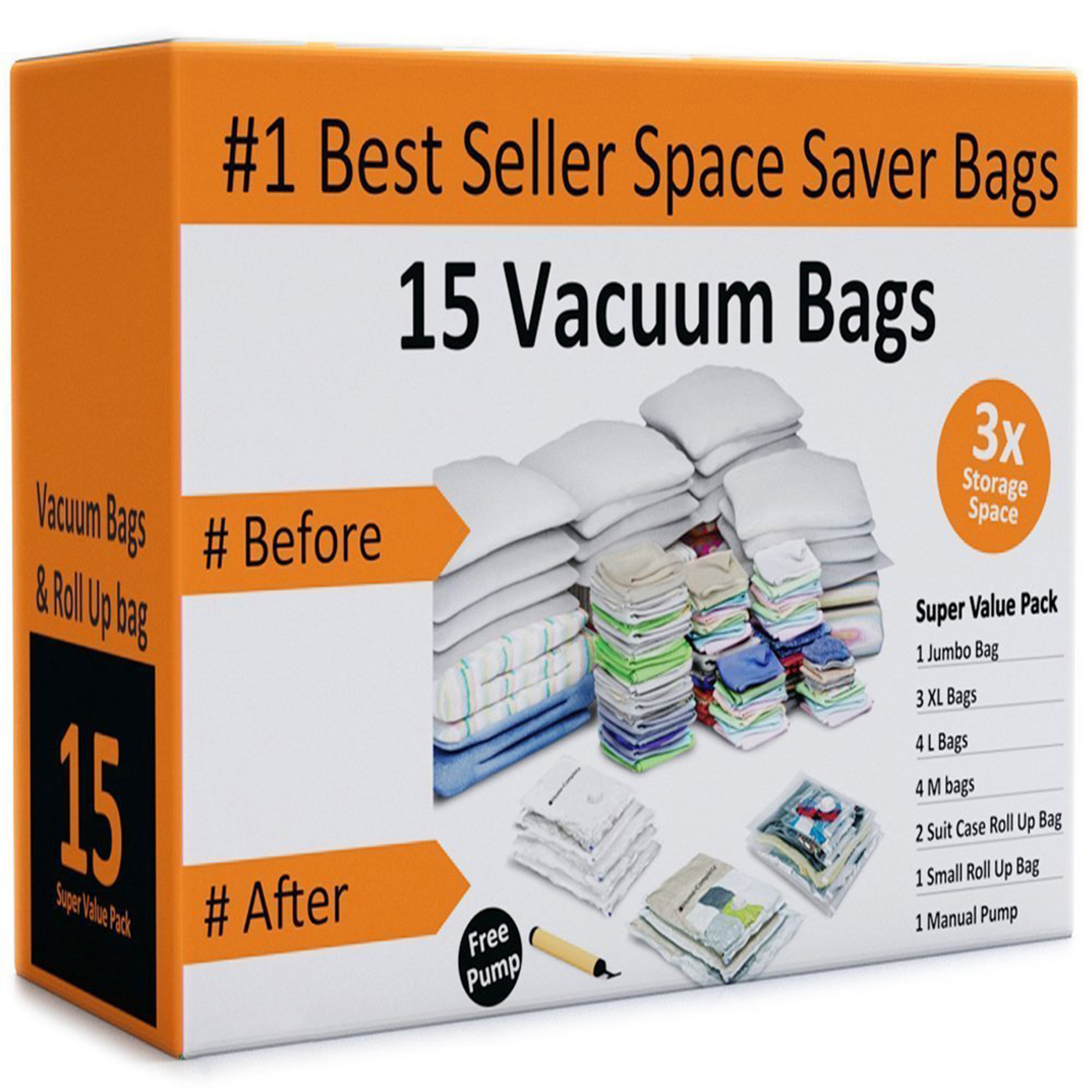Pack of 15 Vacuum Storage Bags Air Tight Seal Closet Space Saving Organize