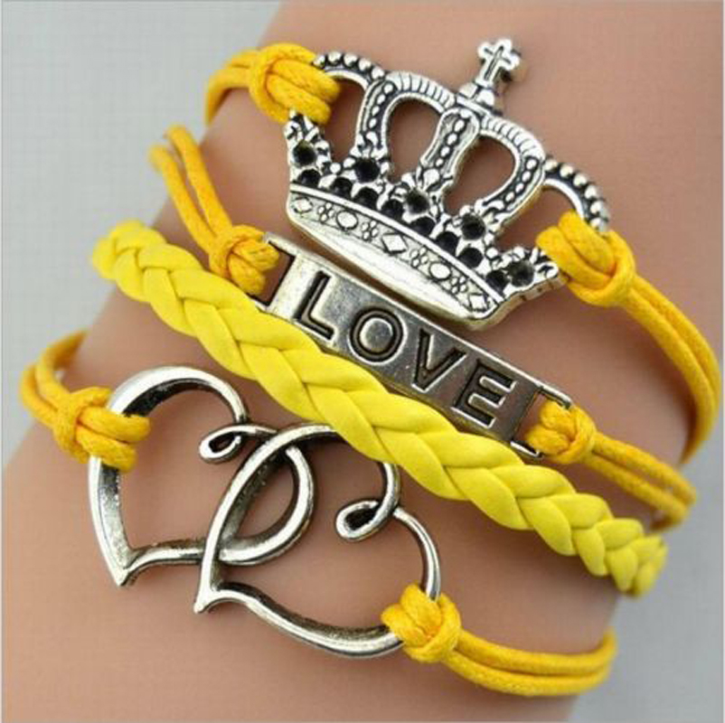New Arrival Braided Hot Silver Love Crown Heart Yellow Leather Charm Bracelet Multilayer 5aa1fb8a2a00e43b13441970