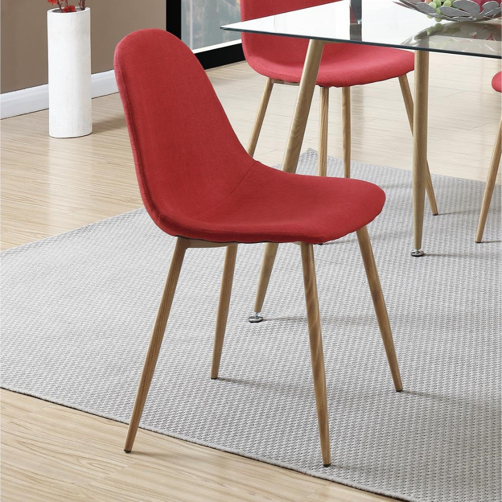 Metal Frame Dining Chair With Petal-Like Seats Set Of 4 Red And Brown 5aa22d702a00e44dc96a0110