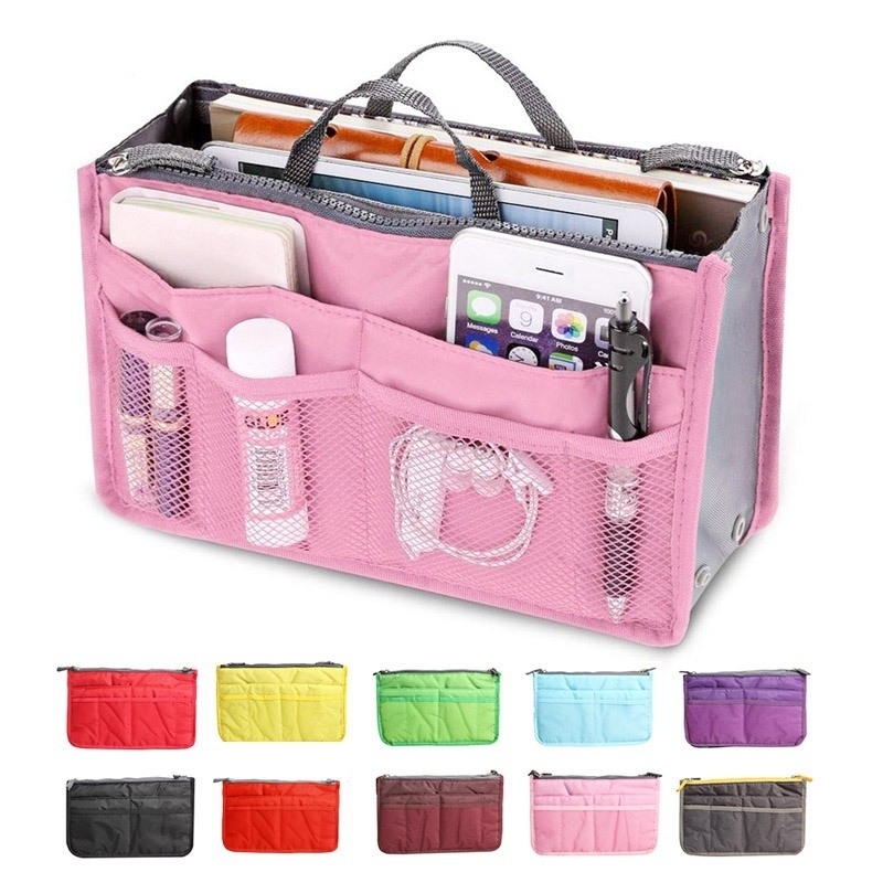 Multi-function Handbag Purse Organizer Insert Phone Cosmetic Bag Storage (KK-LP-T016-P) photo