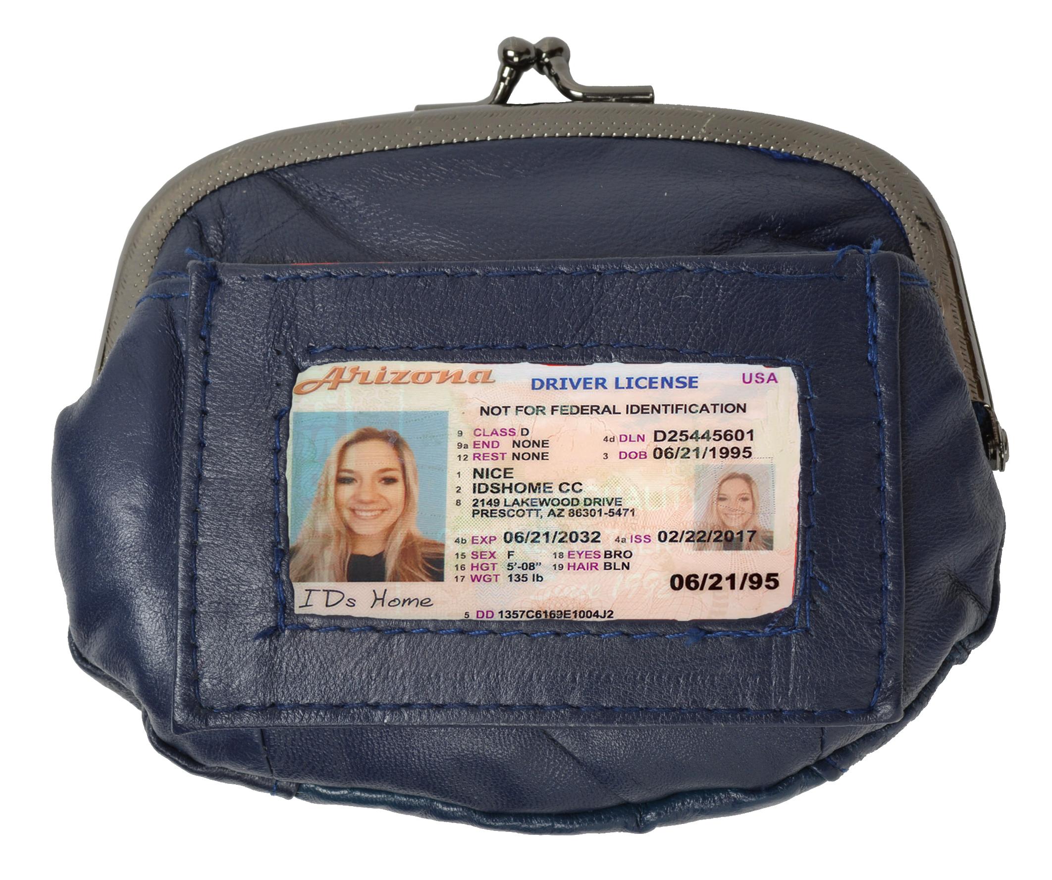 AFONiE - Soft Lambskin ID Change Purse - navy blue photo