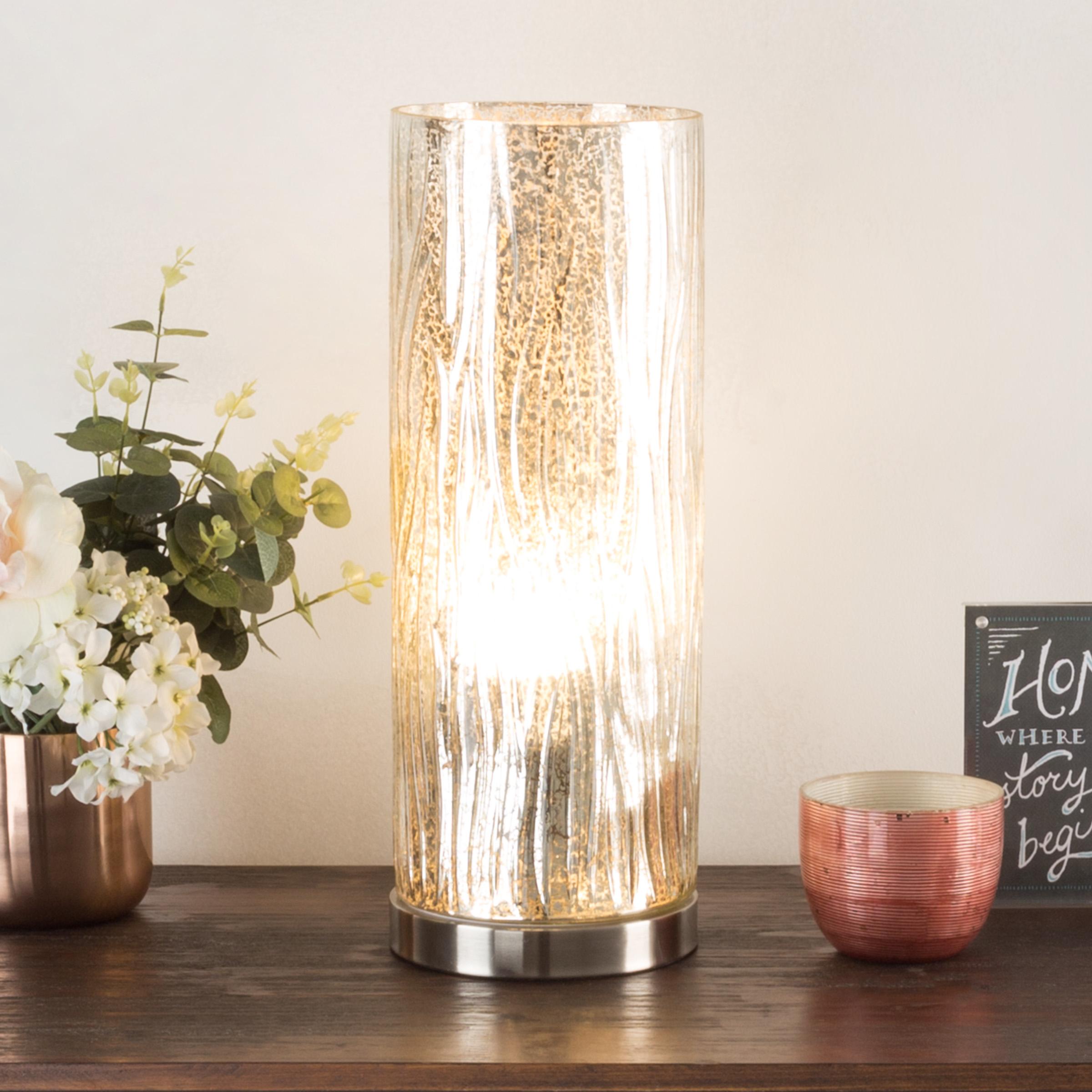 Table Light Textured Glass Tree Bark Pattern Led Bulb Included Elegant Lighting 16 Inch H
