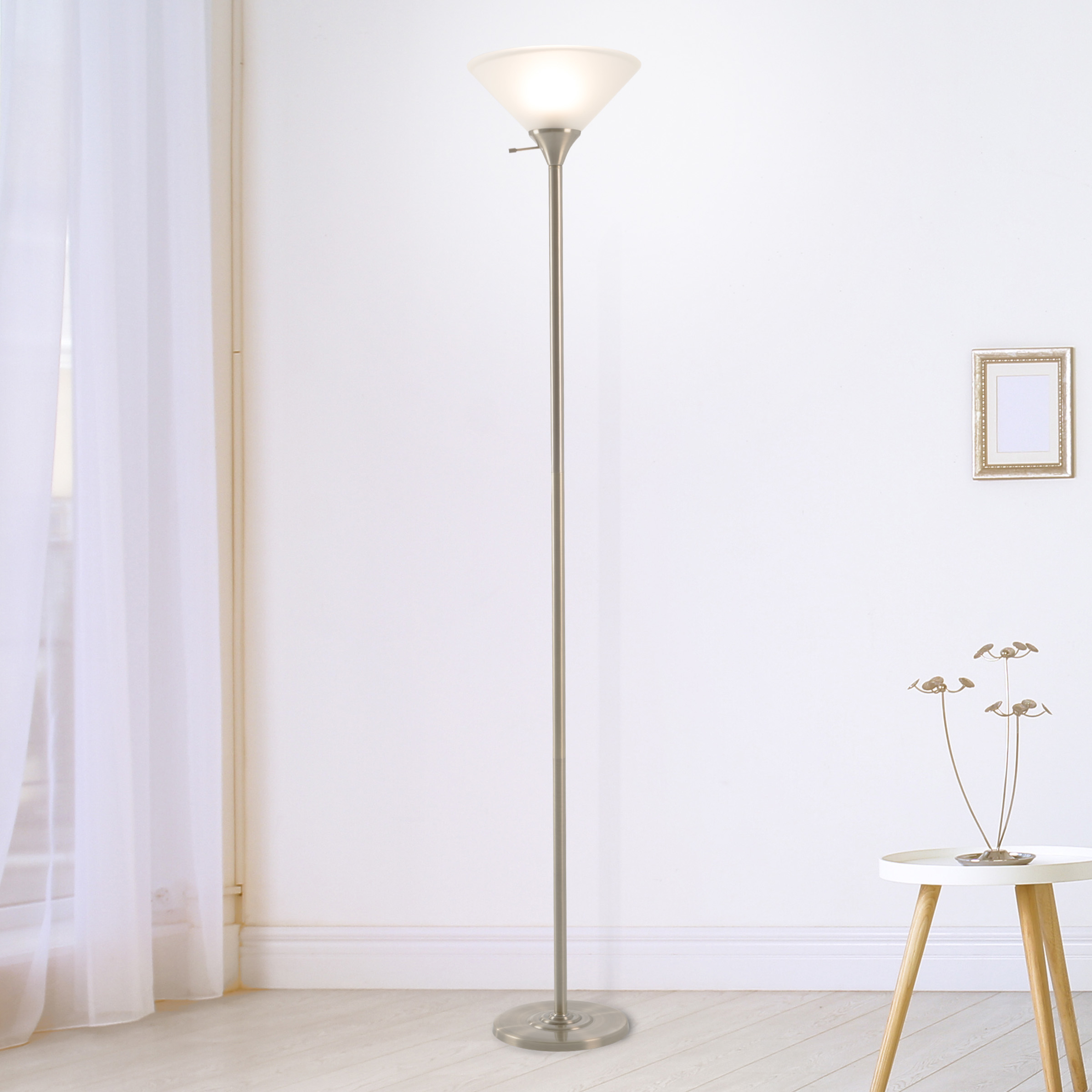 Torchiere Light Bronze Metal Floor Lamp 77 Inch LED Bulb Frosted Glass Shade
