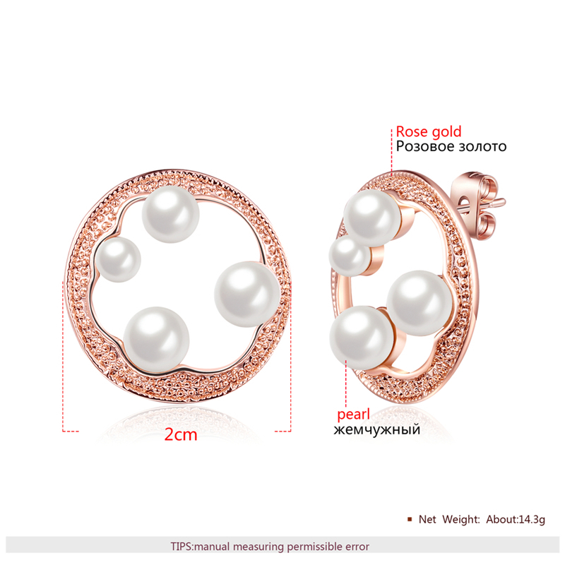 Hot Fashion Rose Gold Geometric Round Hollow Earrings Brincos oorbellen Simulated Pearl Stud Earrings For Women Jewelry 5ac71f6a2a00e4479a16067e