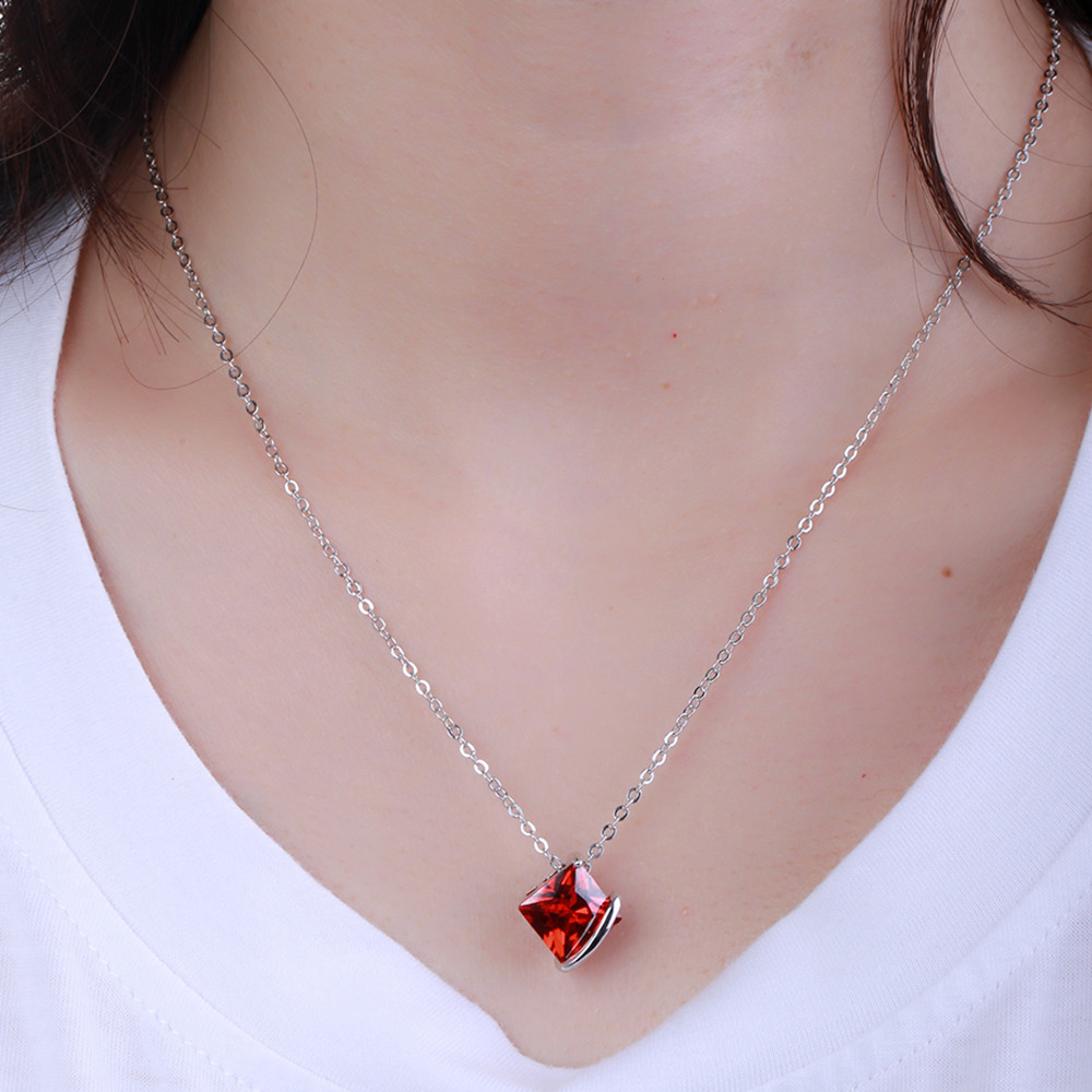 Luxury Women's Wedding Jewelry Sets White Gold Color Red Crystal Stud Earrings and Pendant Necklace Jewelry Sets For Women 5ac71f6f2a00e4479a1606b6