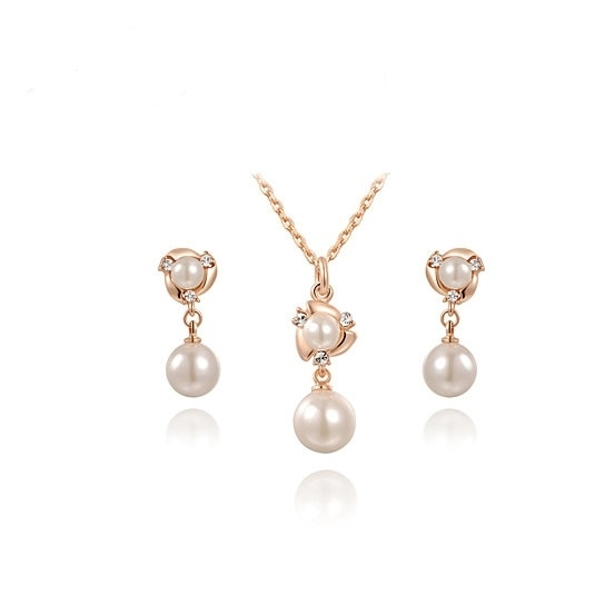 Vacation Simulated Pearl Hand Made Jewelry Sets Rose Gold Color Stud Earrings Necklace Pendant Fashion Jewelry 5ac71f6f2a00e447d829317b