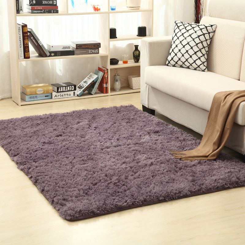 Non-slip Mat living Room Coffee Table Bedroom Bed Mat Long Hair Gray Purple 55in*78in 5acb09bf2c043d255a05a447