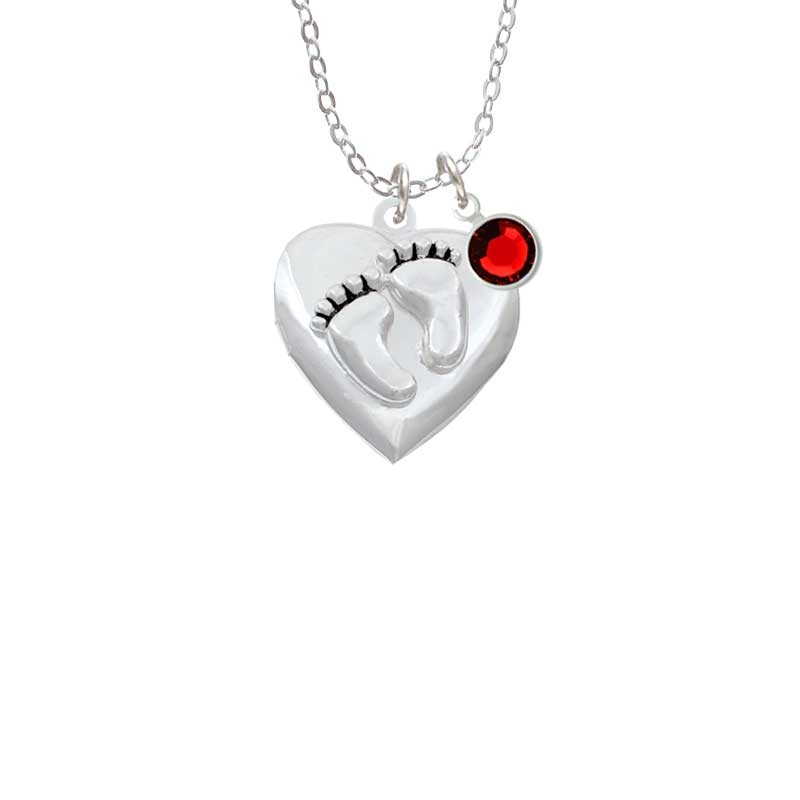 Baby Feet Heart Locket Necklace with Red Crystal Drop