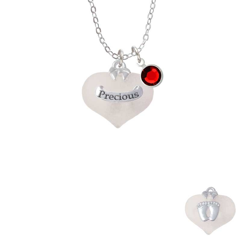 Precious White Heart with Baby Feet Necklace with Red Crystal Drop