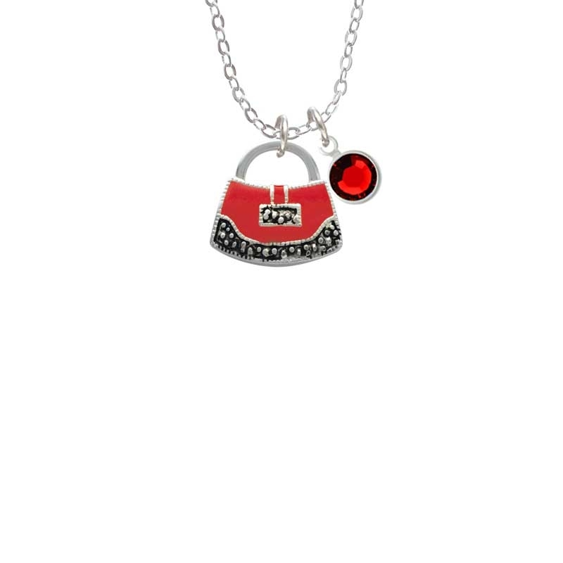 Red Purse Necklace with Red Crystal Drop (Delight) photo