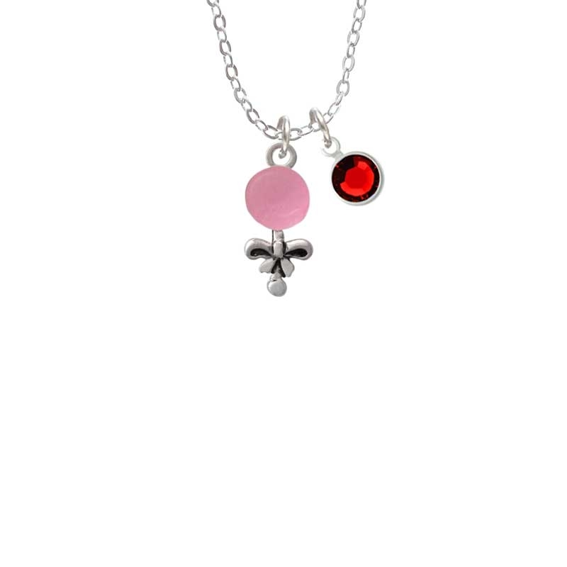 Pink Baby Rattle Necklace with Red Crystal Drop