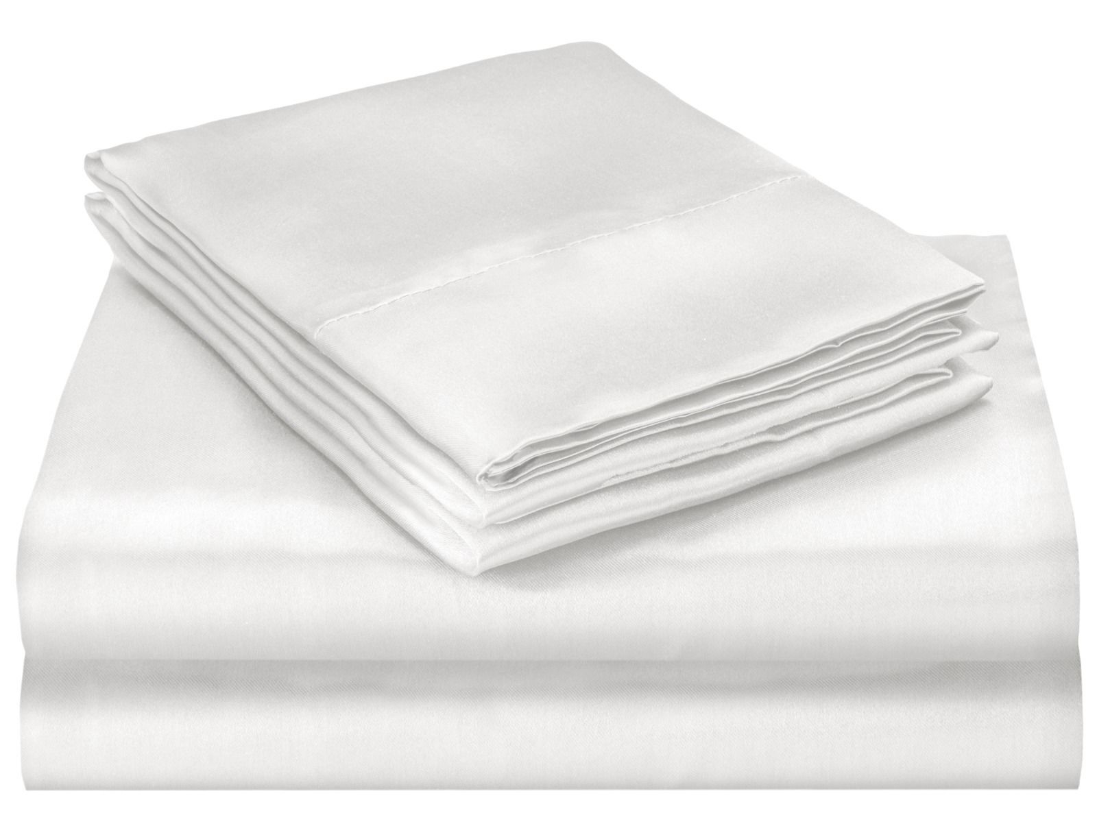 Queen Size Satin Bed Sheet Set - White
