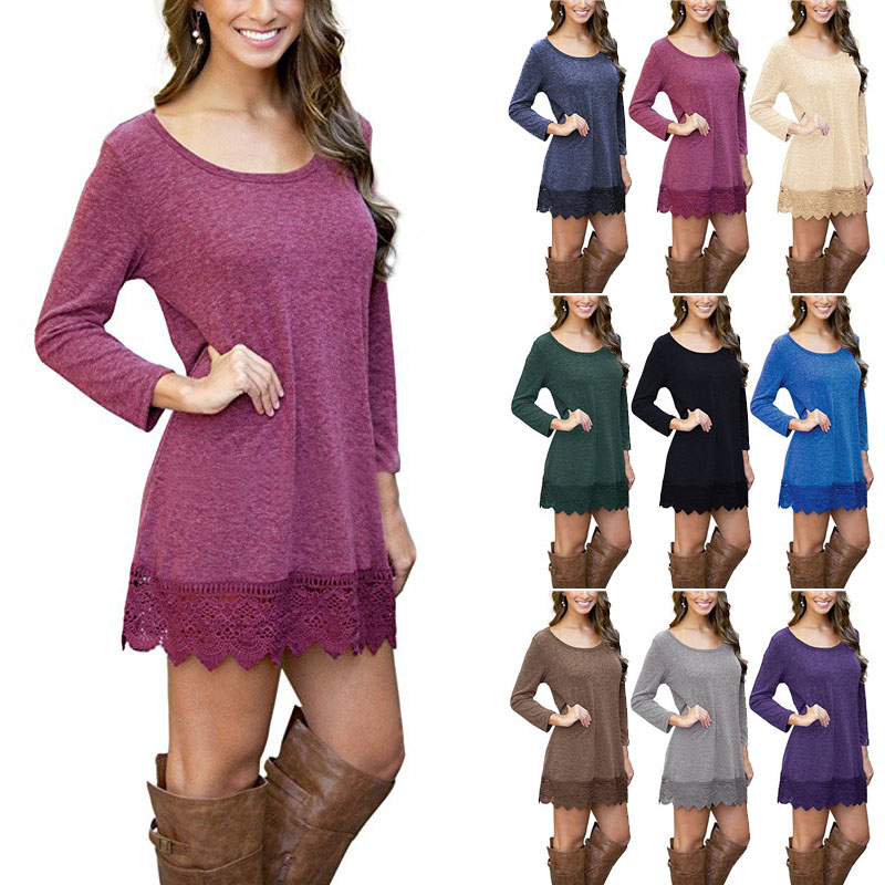 Long Sleeve Lace Trim Tunic Dress - Wine Red, Small 5ae06a0c6130b21f6a384910