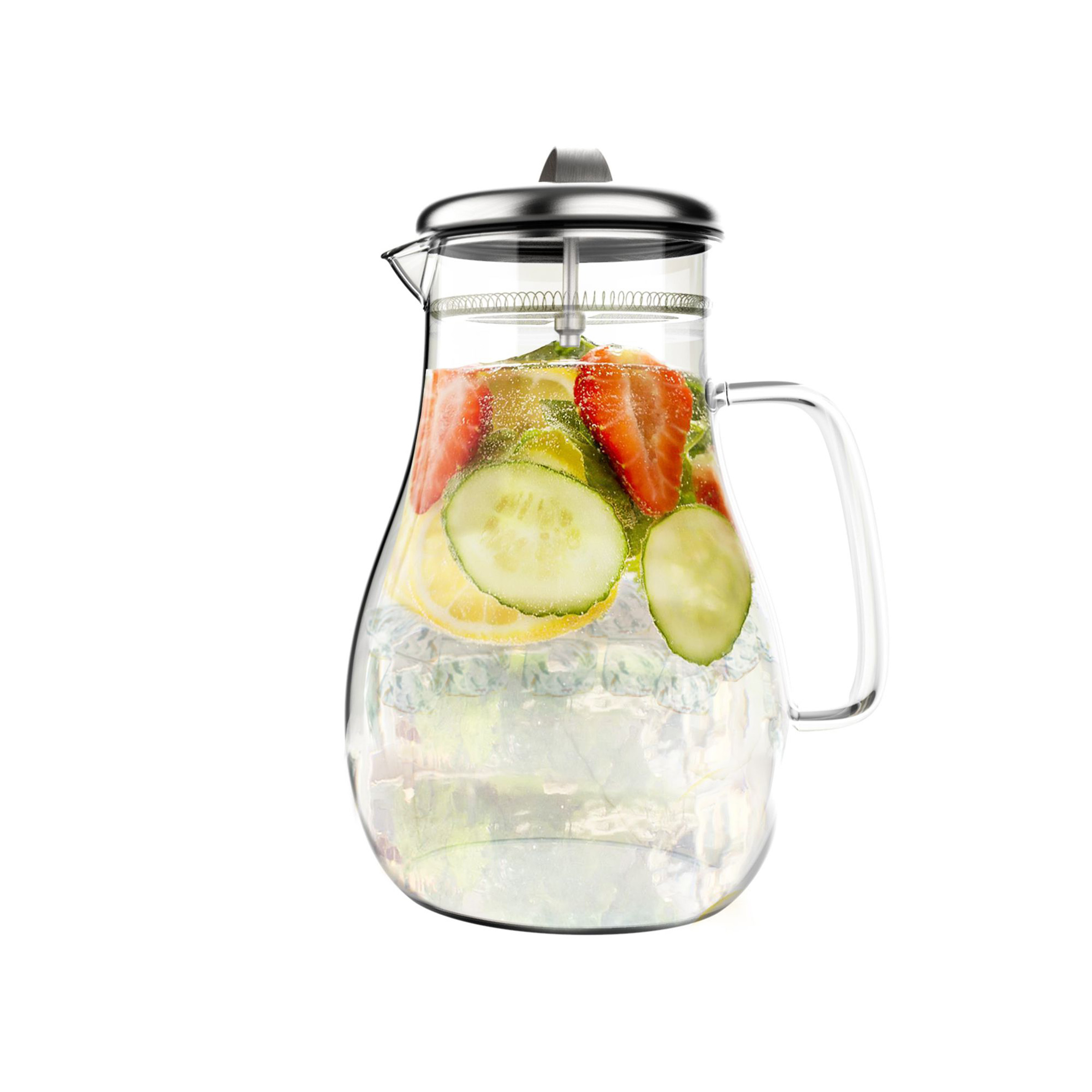 Glass Pitcher-64oz. Carafe with Stainless Steel Filter Lid- Heat Resistant to 300F