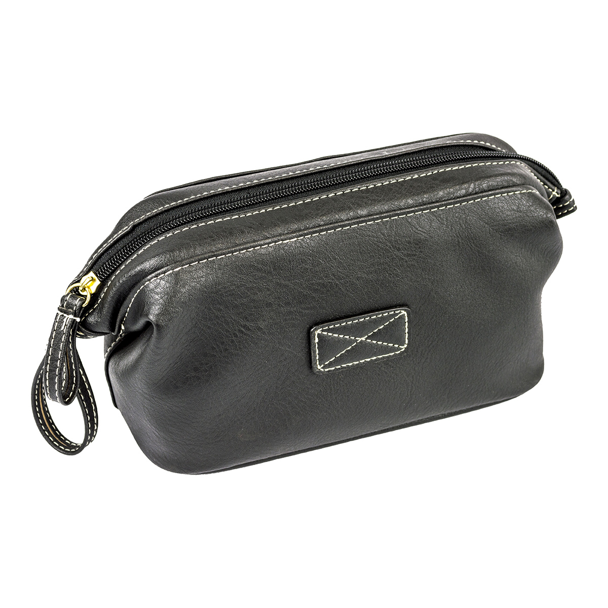 Mens Toiletry Bag, Vegan Leather Compact Top Frame Travel Kit, Black 5ae344b7469fe22d60106374