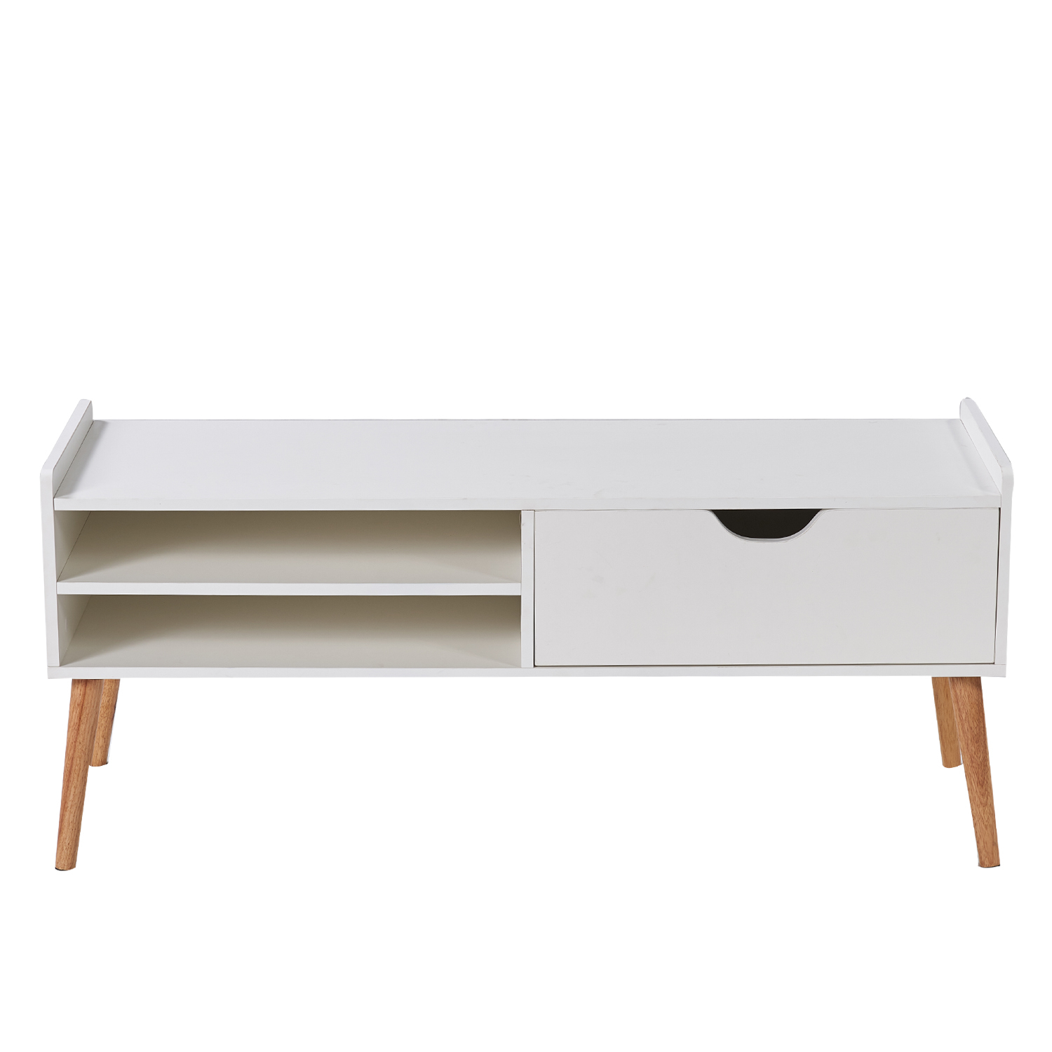 White Media TV Stand, Coffee Table Cabinet Storage, with Drawer and Open Shelf, Bedroom/Living Room 5aea77e9ef8526475821727e