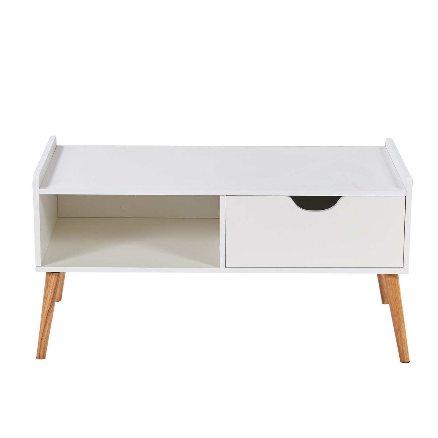 White Coffee Table Cabinet Storage, Media TV Stand, with Drawer and Open Shelf, Bedroom/Living Room Funiture 5aeab08e3474d71b8f00f3cc