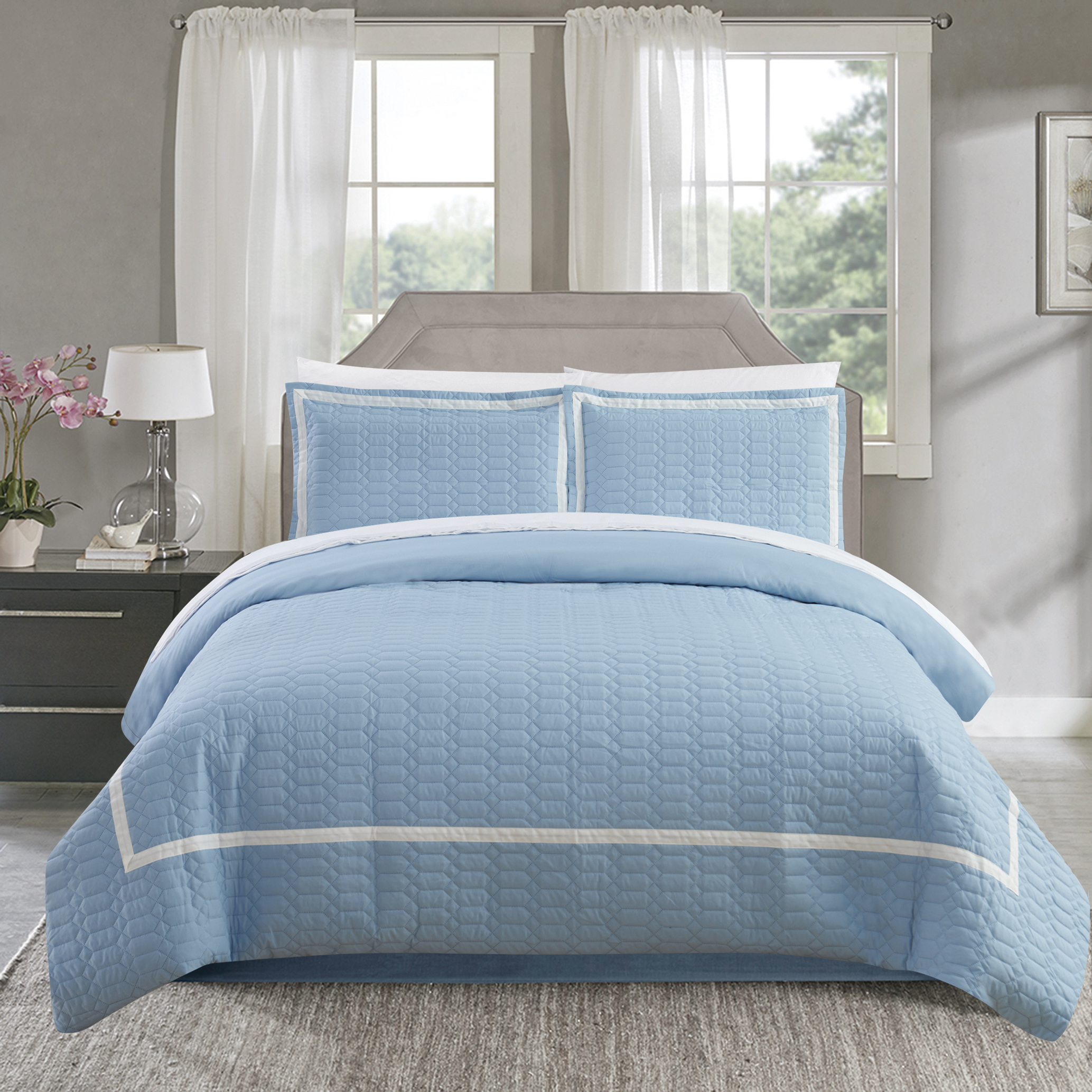 Dawn 2 Piece Duvet Cover Set Hotel Collection Two Tone Banded Print Zipper Closure - Blue, King