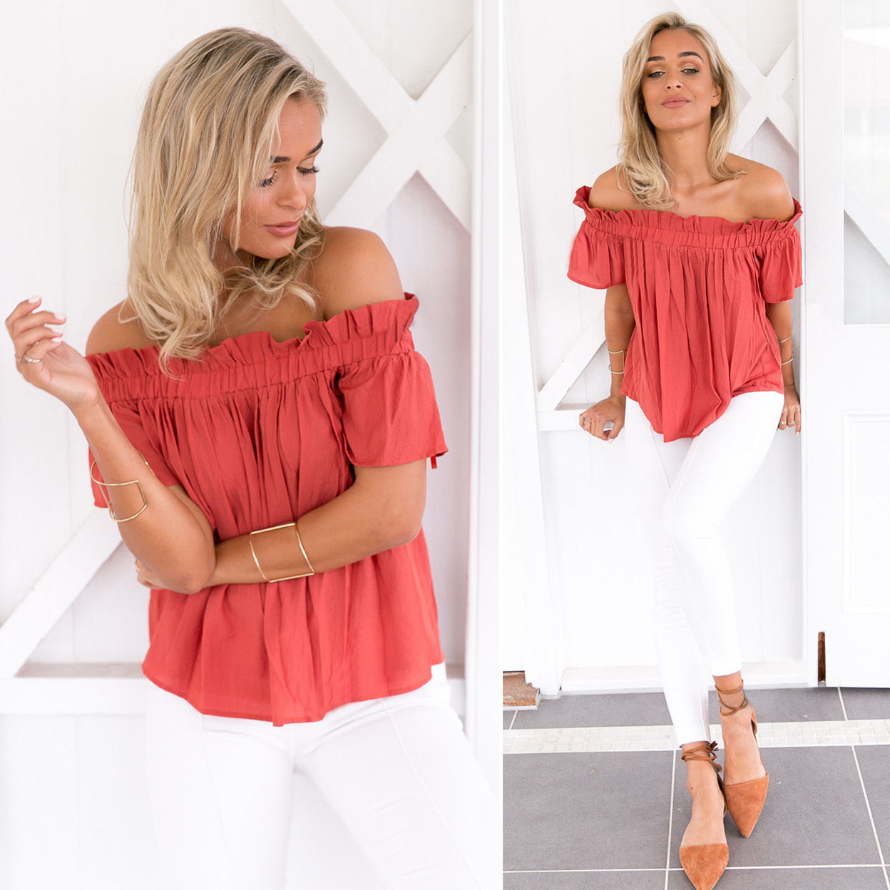 Off Shoulder Ruffle Neckline Top Blouse - Red, Small 5af15e651a2f720fb870afb3