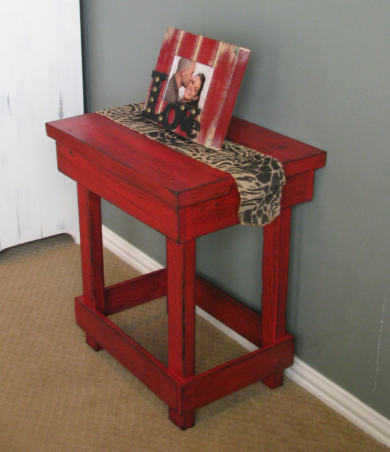 Medium Red End Table, Side Table, Nightstand - Red