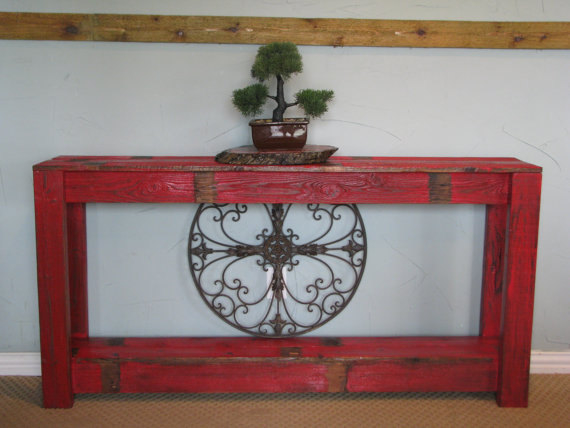 Rustic 60'' Sofa Table - Red