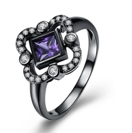 Purple Crystal Jewelry Poupular Style Ladies Women Engagement Dating Ring Hot White Flower Zircon 2018 Fashion Charms Rings – 6