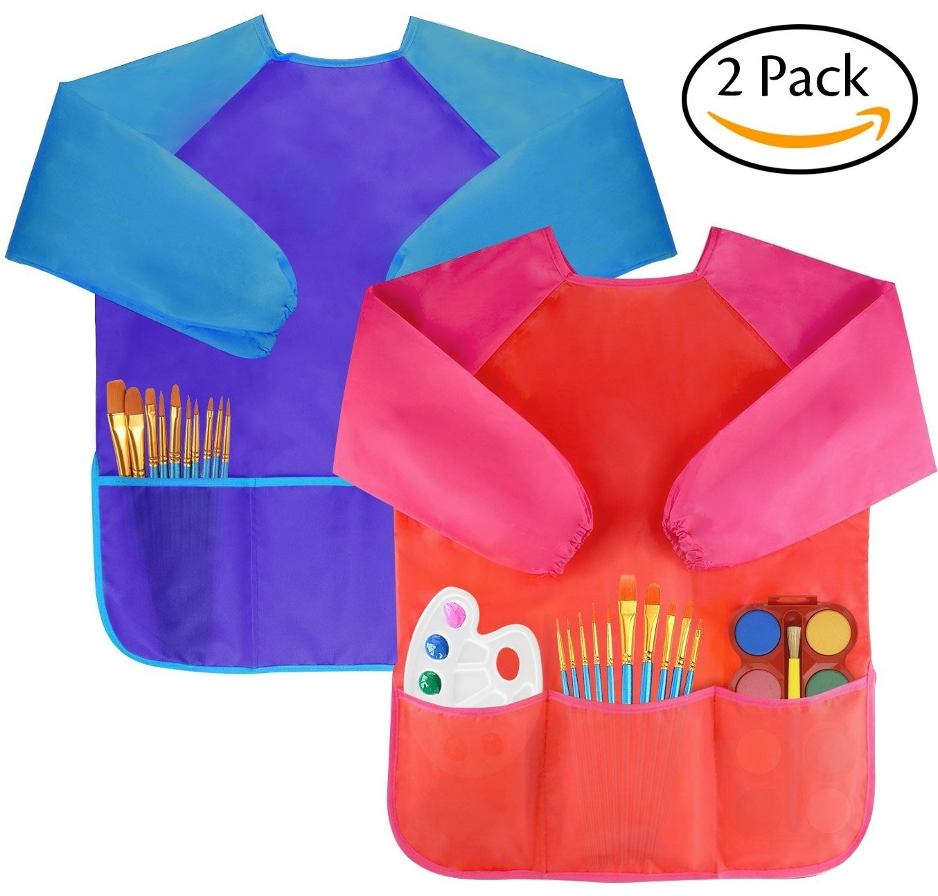 Pack of 2 Kids Art Smocks, Children Waterproof Artist Painting Aprons Long Sleeve with 3 Pockets for Age 2-6 Years 5afa3c9115910213d52ffde4