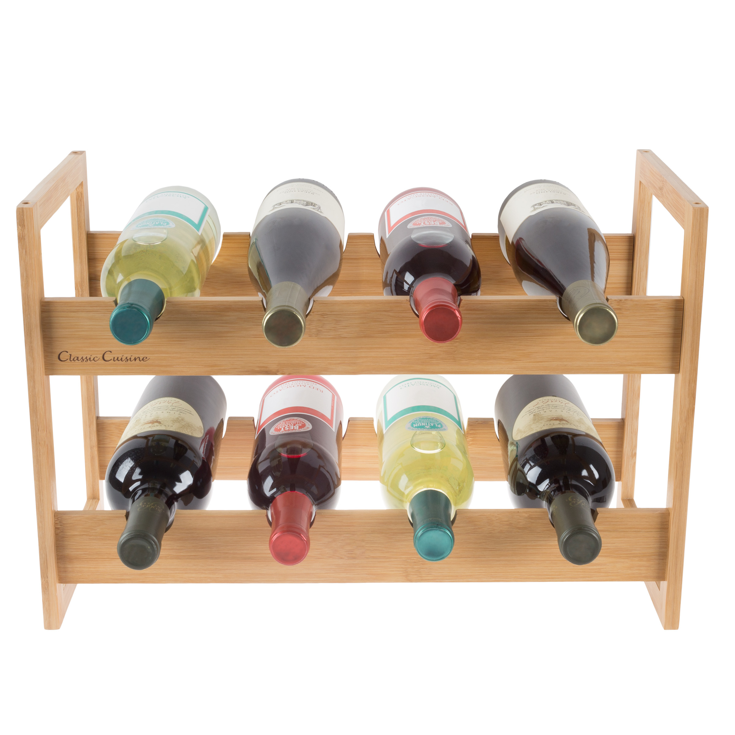 Bamboo Wine Rack Counter top Bottle Holder 18 x 12 Table Top Wooden Storage